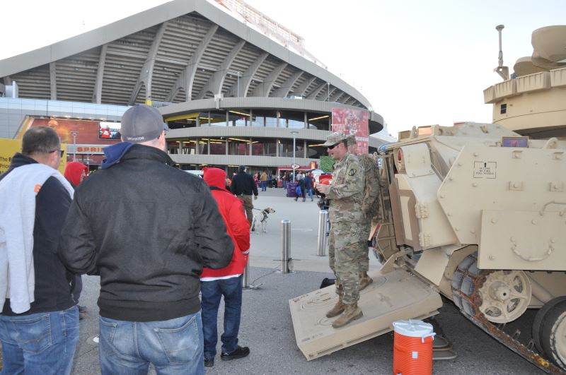 Kanas National Guardsmen greet the pubic outside Arrowhead Stadium