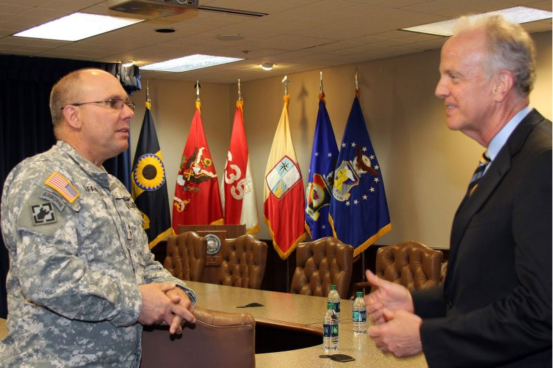 Senator Jerry Moran (right) talks with Major General Lee Tafanelli, the adjutant general